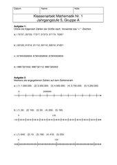 Klassenarbeit Nr 1 Mathematik 5 Gruppe A + B