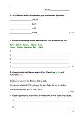 Klassenarbeit Klasse 2 Grammatik