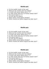 The Months - a quiz - mit Lösung
