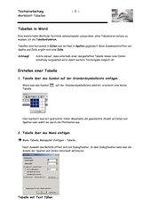 Merkblatt Tabellen in Word