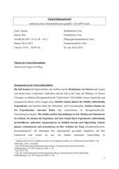 Unterrichtsentwurf - Reaktion von Säuren mit Alltagsmaterialien