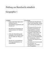 Vorschläge zur Berufsreifeprüfung mündlich MV Geographie