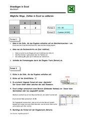 Merkblatt Addition/Summe in Excel