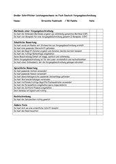Bewertungsraster Kriterien  Vorgangsbeschreibung