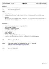 Klausur zu Lee Busselman - Locker 160, Englisch, EPH, NRW mit Erwartungshorizont