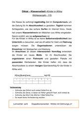 Diktat Thema Afrika - Lernwörter mit ss/ß und -h- und Doppelkonsonanten