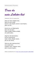 Niederdeutsche Lieder auf Hochdeutsch (Teil 2: Dat du min Leewsten büst / Dass du mein Liebster bist)