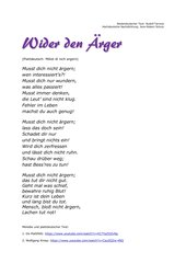 Niederdeutsche Lieder auf Hochdeutsch: (Teil 3: Mötst di nich argern / Wider den Ärger)