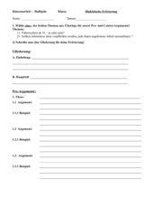 Dialektische Erörterung - Formblatt für eine Gliederung