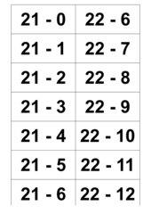 Alle Minusaufgaben im Zahlenraum 21 - 30