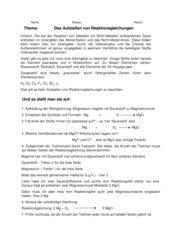Das Aufstellen von Reaktionsgleichungen