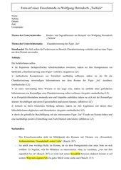 Stundenentwurf zu Herrndorfs Tschick