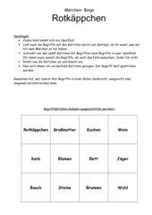 Märchen- Bingo Rotkäppchen