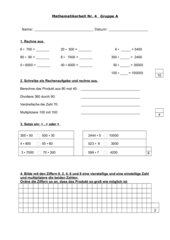 Lernzielkontrolle schriftliche Multiplikation