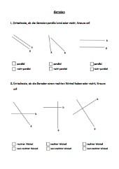Geraden - parallel / rechter Winkel