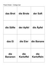 Lebensmittel-Zuordnungsspiel (Pluralbildung)