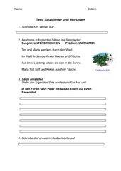 Kurztest: Satzglieder und Wortarten