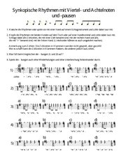 Synkopische Rhythmen mit Viertel- und Achtelnoten und - pausen AB 3