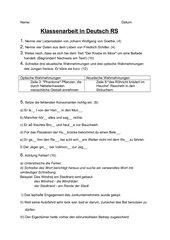 Klassenarbeit zum Thema Balladen und Rechtschreibung