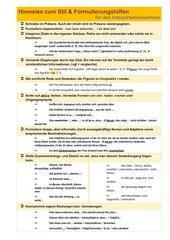 Hinweise zum Stil und Formulierungshilfen zum Aufsatz