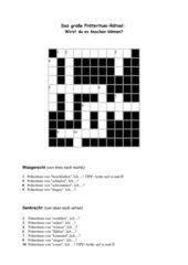 Präteritum-Kreuzworträtsel