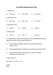 Test: Einfache Aufgaben/ Zahlen bis 1000