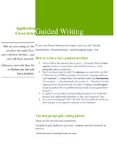 Guided Writing - cover letter