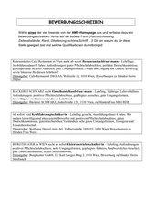 Beurteilungskriterien - Bewerbungsschreiben