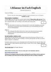 1.Klausur Englisch - Analyse a Text