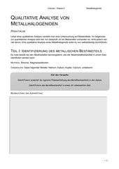 Qualitative Analyse von Metallhalogenide