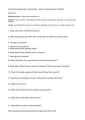 School days - Fletcher Viewing Comprehension Questions