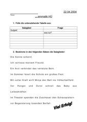 Grammatiktest zum Thema Satzglieder