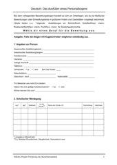 Das Ausfüllen eines Personalbogens