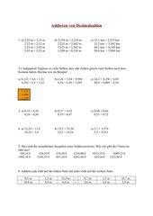 Addition und Subtraktion von Dezimalzahlen