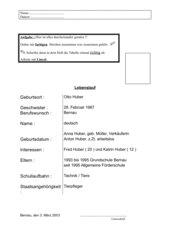 tabellarischer Lebenslauf / EinführungsAB
