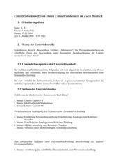 Unterrichtsentwurf: Personenbeschreibung unter besonderer Berücksichtigung der Lektüre