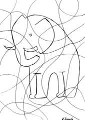 Elefant in eckigen und runden Formen