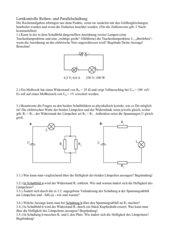Arbeitsblatt oder Test Reihen- und Parallelschaltung