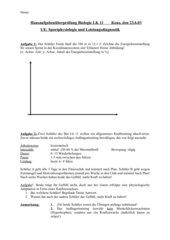 Hausaufgabenüberprüfung Sportphysiologie