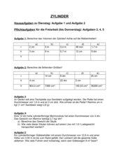 Arbeitsblatt zur Volumenberechnung von Zylindern