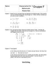 Klassenarbeit Klasse 8 Gymnasium BW (Bruchgleichungen)