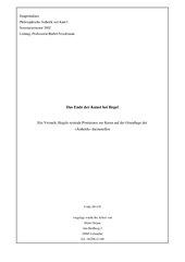Das Ende der Kunst bei Hegel