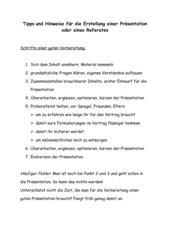 Tipps zur Gestaltung eines Referates
