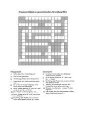 Kreuzworträtsel zu geometrischen Grundbegriffen