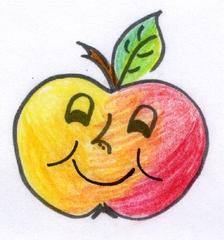 Apfel - Apfel, fröhlich, lustig, Obst, Anlaut A, Illustration