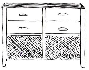 Kommode - Kommode, Wohnzimmer, Schlafzimmer, Möbel, Kleinmöbel, aufbewahren, Schrankmöbel, Schubladen, Anlaut K