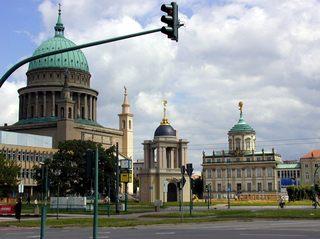 Alter Markt in Potsdam - Potsdam, Alter Markt, Nikolaikirche, Karl Friedrich Schinkel, Fortunaportal, Altes Rathaus, Marmorobelisk, Johann Boumann, Kuppel