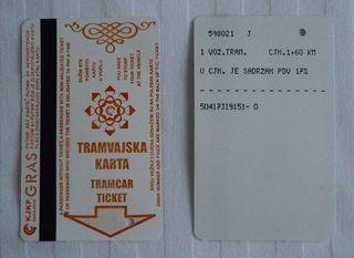 Tramfahrschein 02 - serbisch/bosnisch - Tram, Fahrschein, serbisch, bosnisch