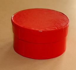 runde Schachtel - Pappschachtel, rot, Zylinder, Behälter, Drehzylinder, Kreiszylinder, Schachtel, Deckel