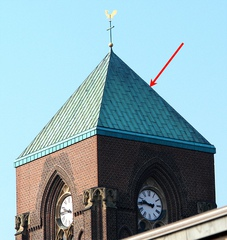Kirchturmdach #2 - Kirchturm, Kirchturmdach, Turmdach, Dach, Pyramide, Kupfer, Grünspan, Oxidation